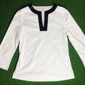 St. John Sport White Blouse Tunic Cotton